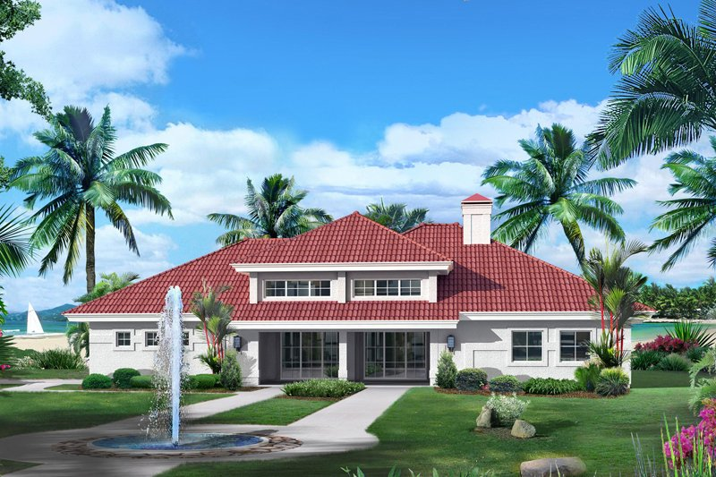 Architectural House Design - Mediterranean Exterior - Front Elevation Plan #57-687