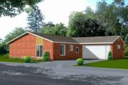Adobe / Southwestern Style House Plan - 3 Beds 2 Baths 1285 Sq/Ft Plan #1-1073 Exterior - Front Elevation