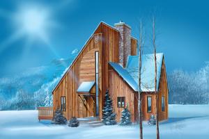 Cabin Exterior - Front Elevation Plan #25-4529