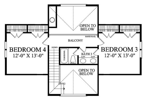 Traditional Floor Plan - Upper Floor Plan #137-367
