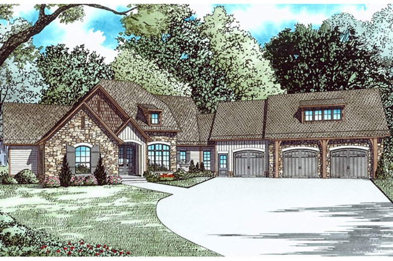Ranch Exterior - Front Elevation Plan #17-3404