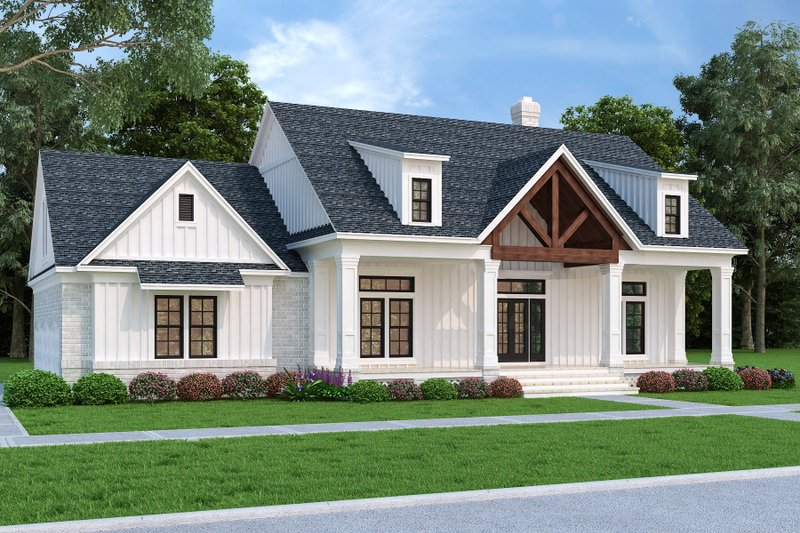 Dream House Plan - Farmhouse Exterior - Front Elevation Plan #45-594