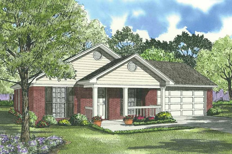 Southern Style House Plan - 3 Beds 2 Baths 1023 Sq/Ft Plan #17-537 Exterior - Front Elevation