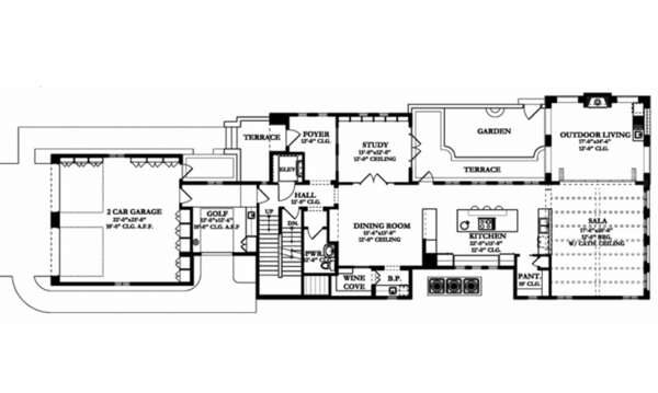 Mediterranean Floor Plan - Main Floor Plan Plan #1058-155