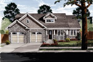 Craftsman Exterior - Front Elevation Plan #46-836