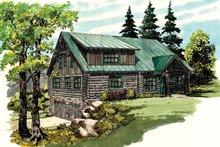 Log Exterior - Front Elevation Plan #942-23