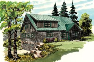 House Design - Log Exterior - Front Elevation Plan #942-23