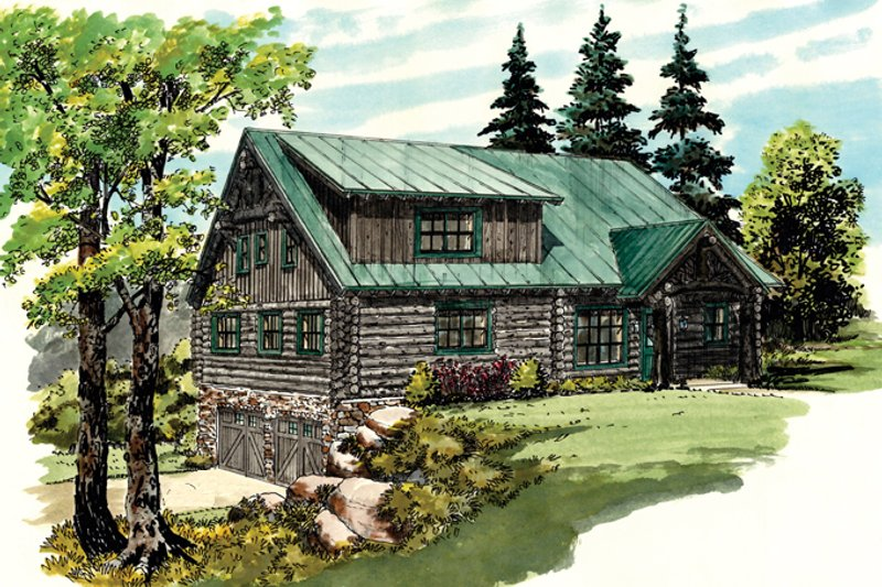 Log Exterior - Front Elevation Plan #942-23