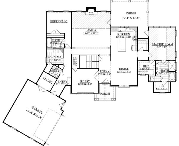 Farmhouse Floor Plan - Main Floor Plan Plan #1071-5