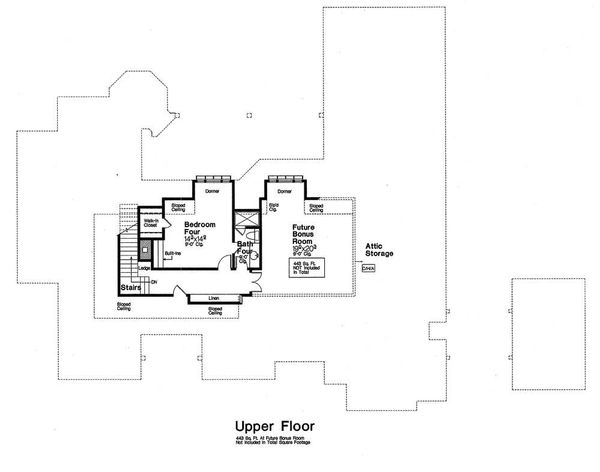 European Floor Plan - Upper Floor Plan Plan #310-1296