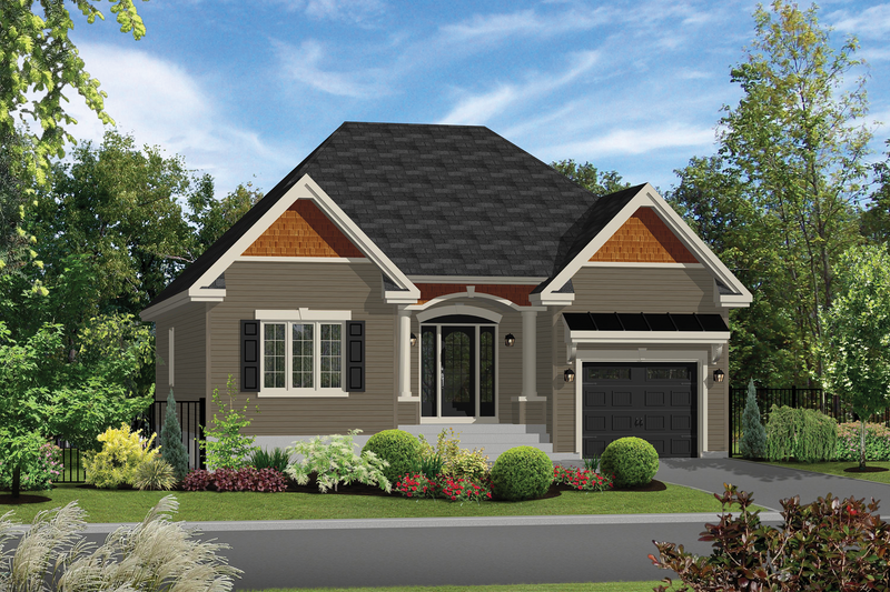 Country Style House Plan - 2 Beds 1 Baths 1197 Sq/Ft Plan #25-4305 Exterior - Front Elevation