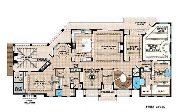 Beach Floor Plan - Main Floor Plan Plan #27-546