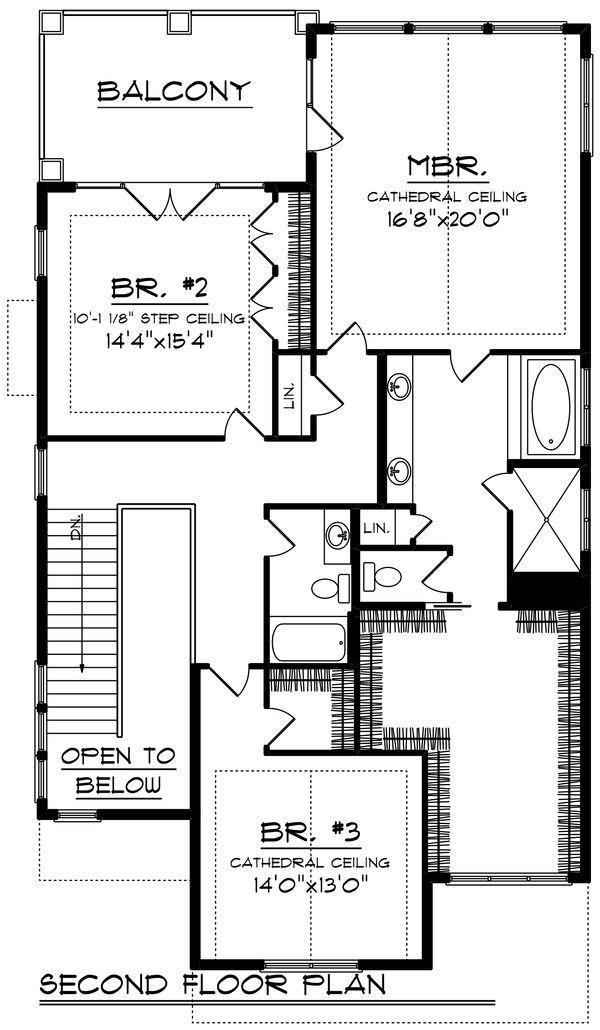 Craftsman Floor Plan - Upper Floor Plan Plan #70-1426