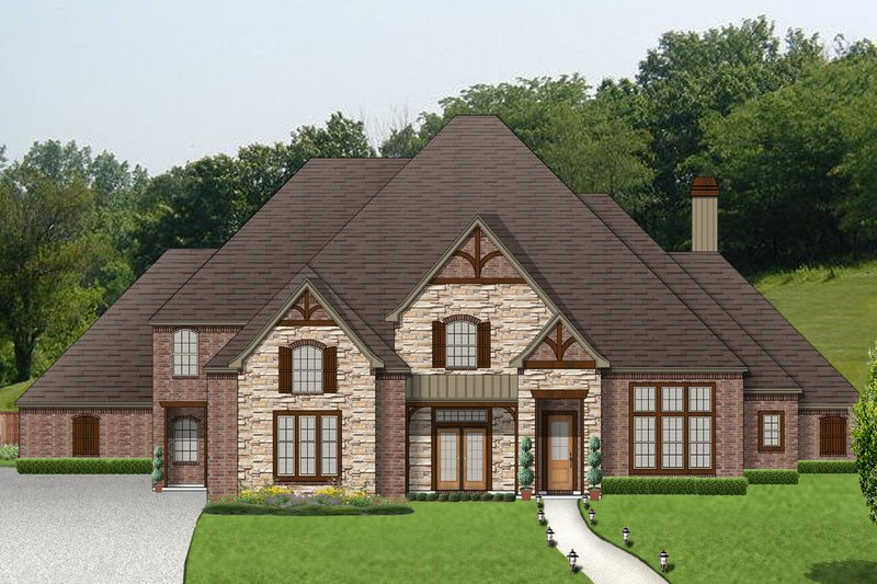 Dream House Plan - European Exterior - Front Elevation Plan #84-438