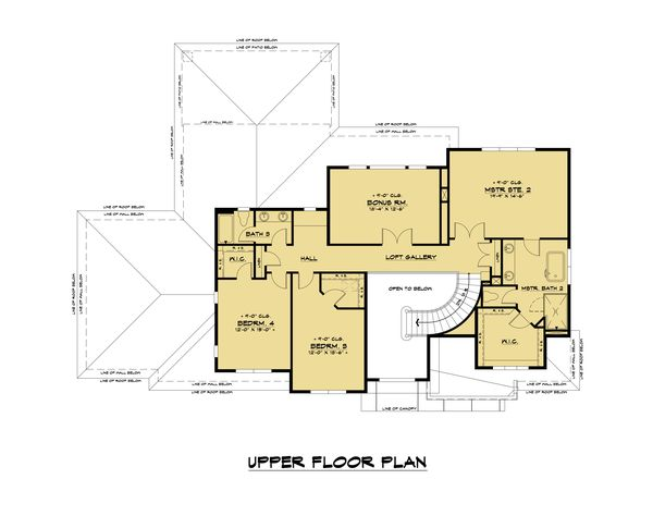 Contemporary Floor Plan - Upper Floor Plan #1066-116