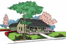 Architectural House Design - Country Exterior - Front Elevation Plan #60-718