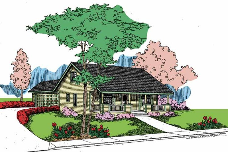 House Design - Country Exterior - Front Elevation Plan #60-718