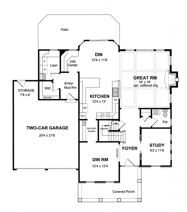 Traditional Floor Plan - Main Floor Plan Plan #316-275