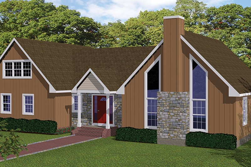Country Exterior - Front Elevation Plan #1061-36 - Houseplans.com