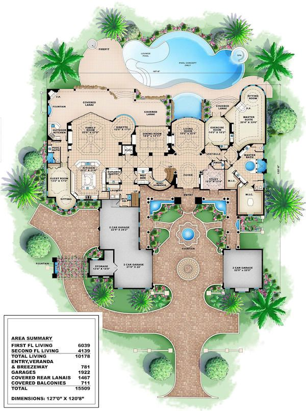 Mediterranean Floor Plan - Main Floor Plan Plan #27-279