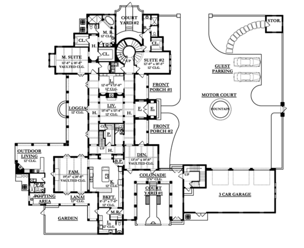 Mediterranean Floor Plan - Main Floor Plan Plan #1058-25