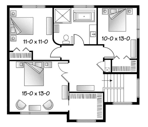 Contemporary Floor Plan - Upper Floor Plan Plan #23-2586