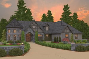 Home Plan Design - Tudor Exterior - Front Elevation Plan #943-44