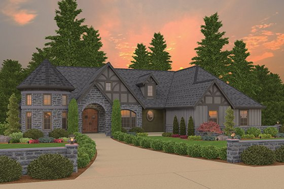 Tudor Exterior - Front Elevation Plan #943-44