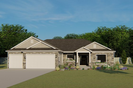 Craftsman Exterior - Front Elevation Plan #1064-37