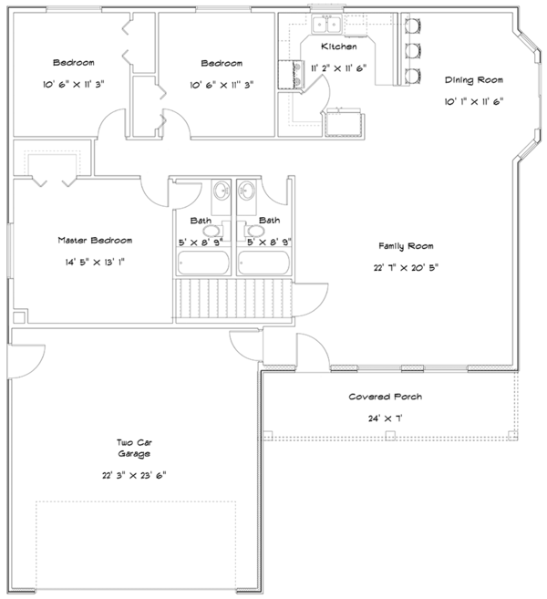 Ranch Floor Plan - Main Floor Plan Plan #1060-16