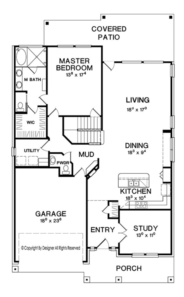 House Plan Design - Craftsman Floor Plan - Main Floor Plan #472-437