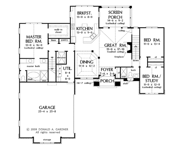 European Floor Plan - Main Floor Plan Plan #929-921
