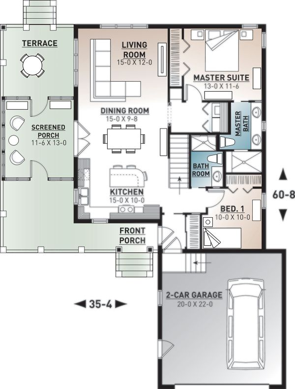 European Floor Plan - Main Floor Plan Plan #23-2489
