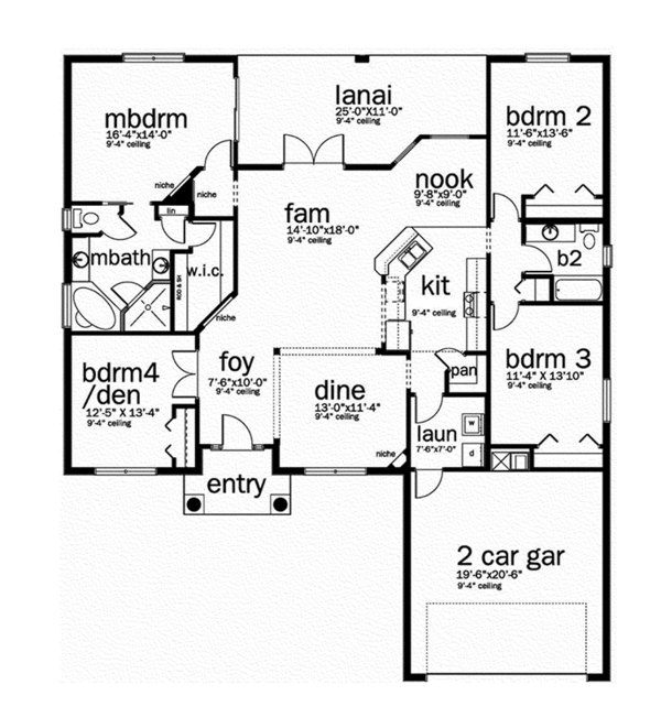 Mediterranean Floor Plan - Main Floor Plan Plan #1058-76