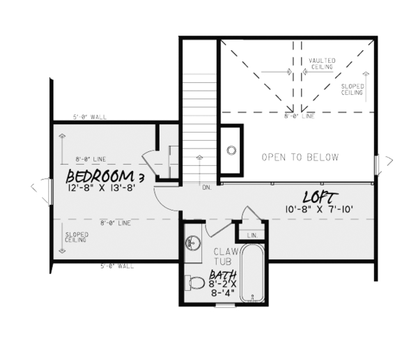Craftsman Floor Plan - Upper Floor Plan Plan #17-3370