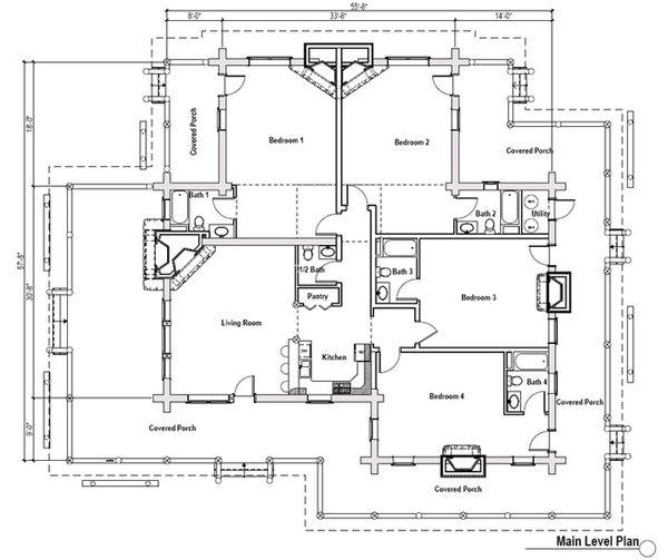 Log Floor Plan - Main Floor Plan Plan #451-6
