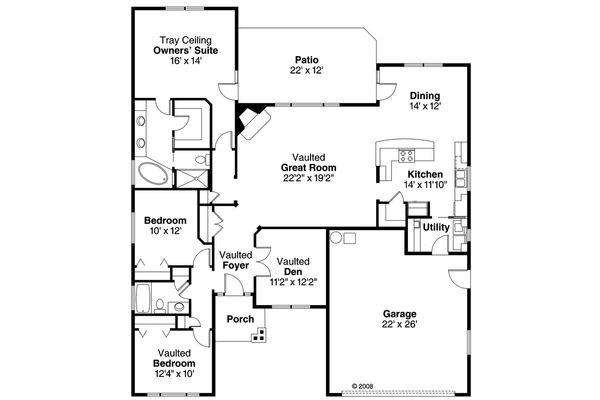 Craftsman Floor Plan - Main Floor Plan #124-765