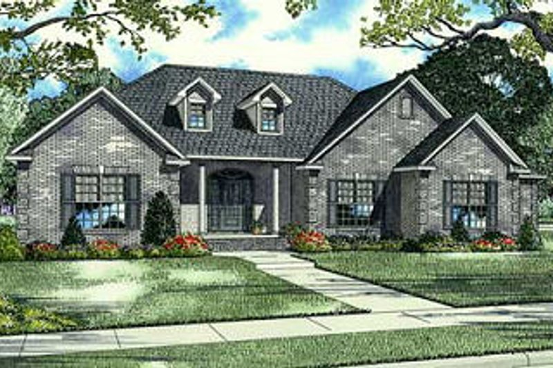 European Style House Plan - 4 Beds 3.5 Baths 2846 Sq/Ft Plan #17-649 Exterior - Front Elevation
