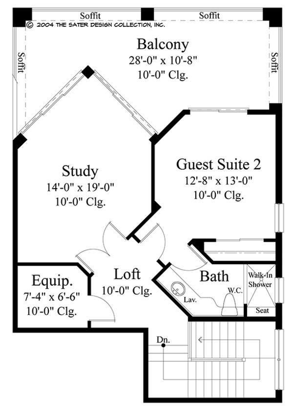 Mediterranean Floor Plan - Upper Floor Plan #930-471