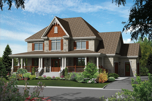 Country Exterior - Front Elevation Plan #25-4484