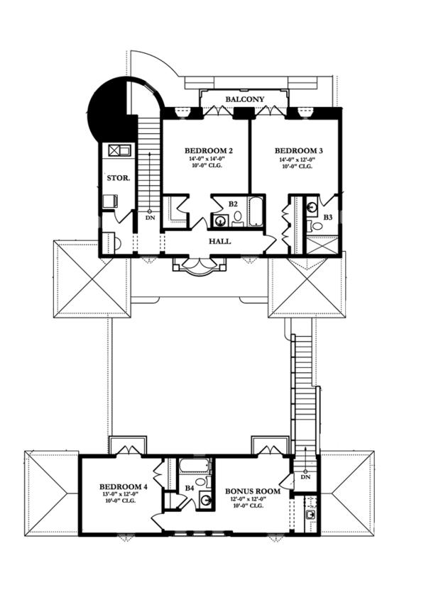 Mediterranean Floor Plan - Upper Floor Plan Plan #1058-17