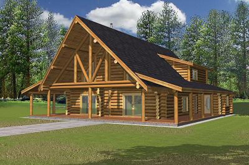 Log Exterior - Front Elevation Plan #117-502 - Houseplans.com