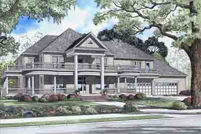 Victorian Style House Plan - 5 Beds 4 Baths 6903 Sq/Ft Plan #17-2099 Exterior - Front Elevation