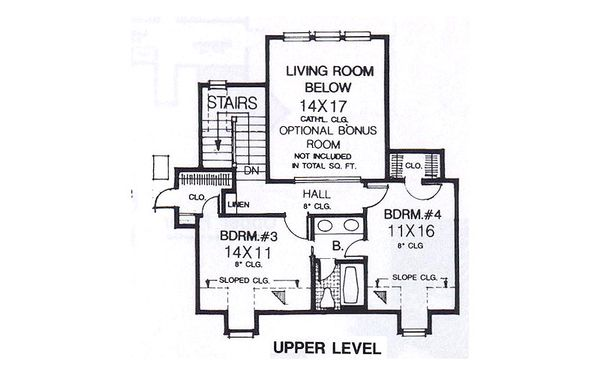 Colonial Floor Plan - Upper Floor Plan #310-915