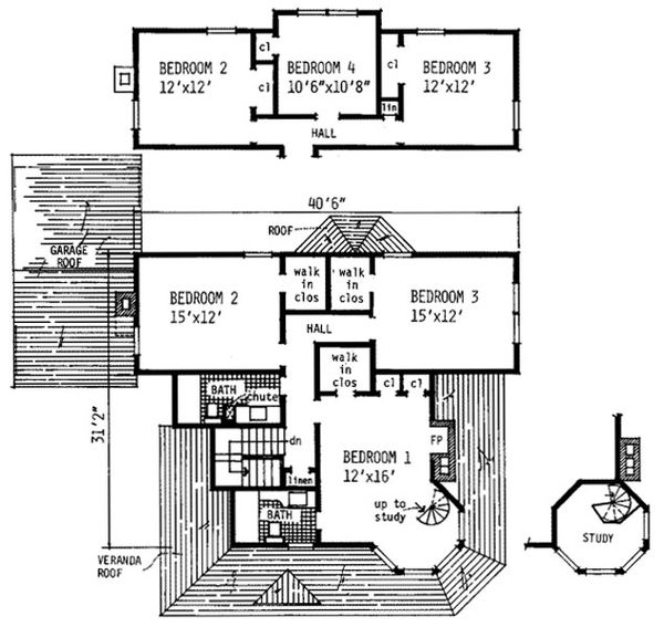 Victorian Floor Plan - Upper Floor Plan Plan #315-103