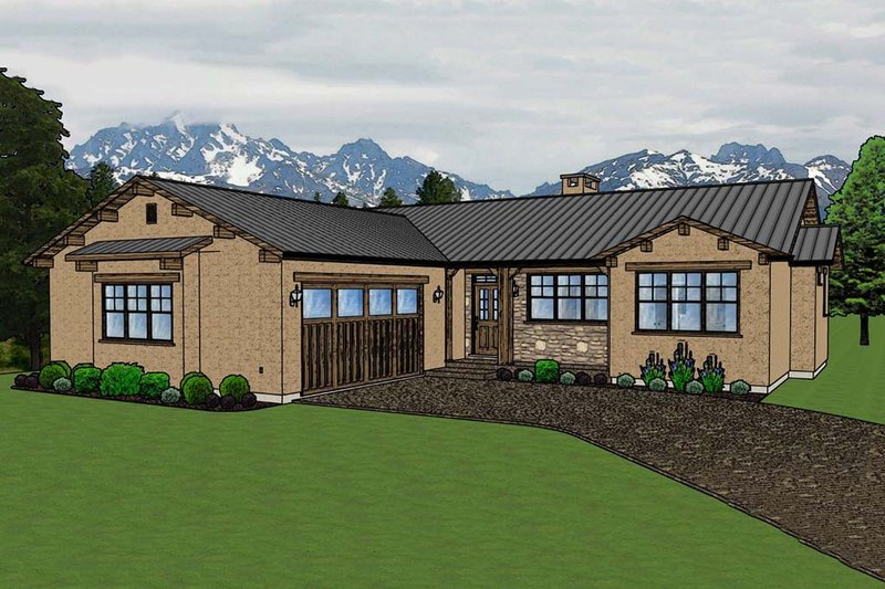 Adobe / Southwestern Style House Plan - 3 Beds 2 Baths 1619 Sq/Ft Plan #126-172 Exterior - Front Elevation
