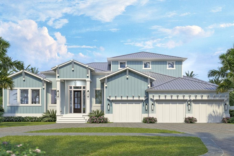 Ranch Style House Plan - 4 Beds 4.5 Baths 3620 Sq/Ft Plan #938-112 Exterior - Front Elevation