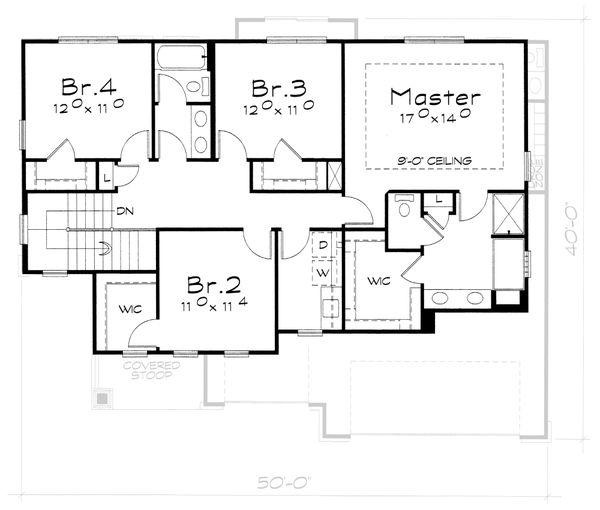 Craftsman Floor Plan - Upper Floor Plan #20-2400