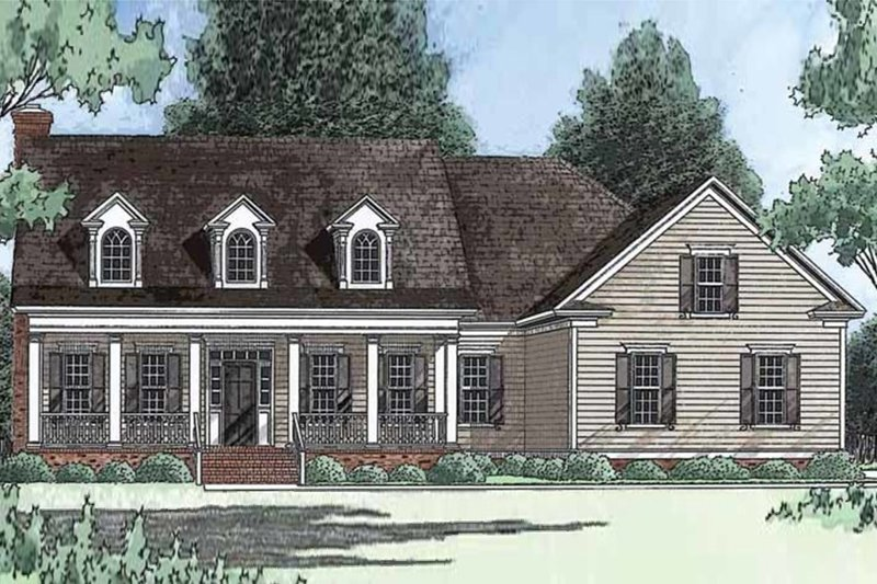 Dream House Plan - Farmhouse Exterior - Front Elevation Plan #1054-4