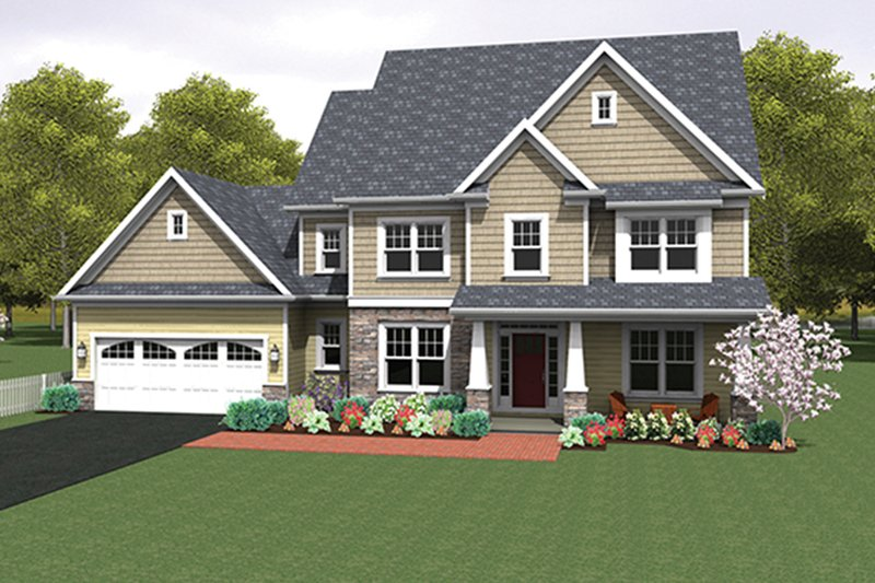 Colonial Exterior - Front Elevation Plan #1010-159